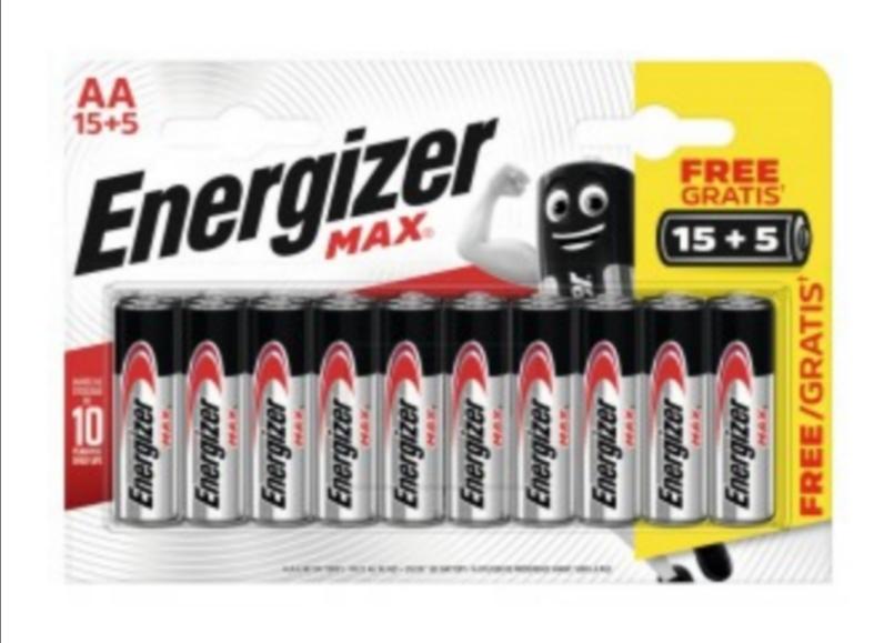 Lot de 20 Piles Energizer max LR6 ou LR3 (via 3,56€ sur carte fidélité)
