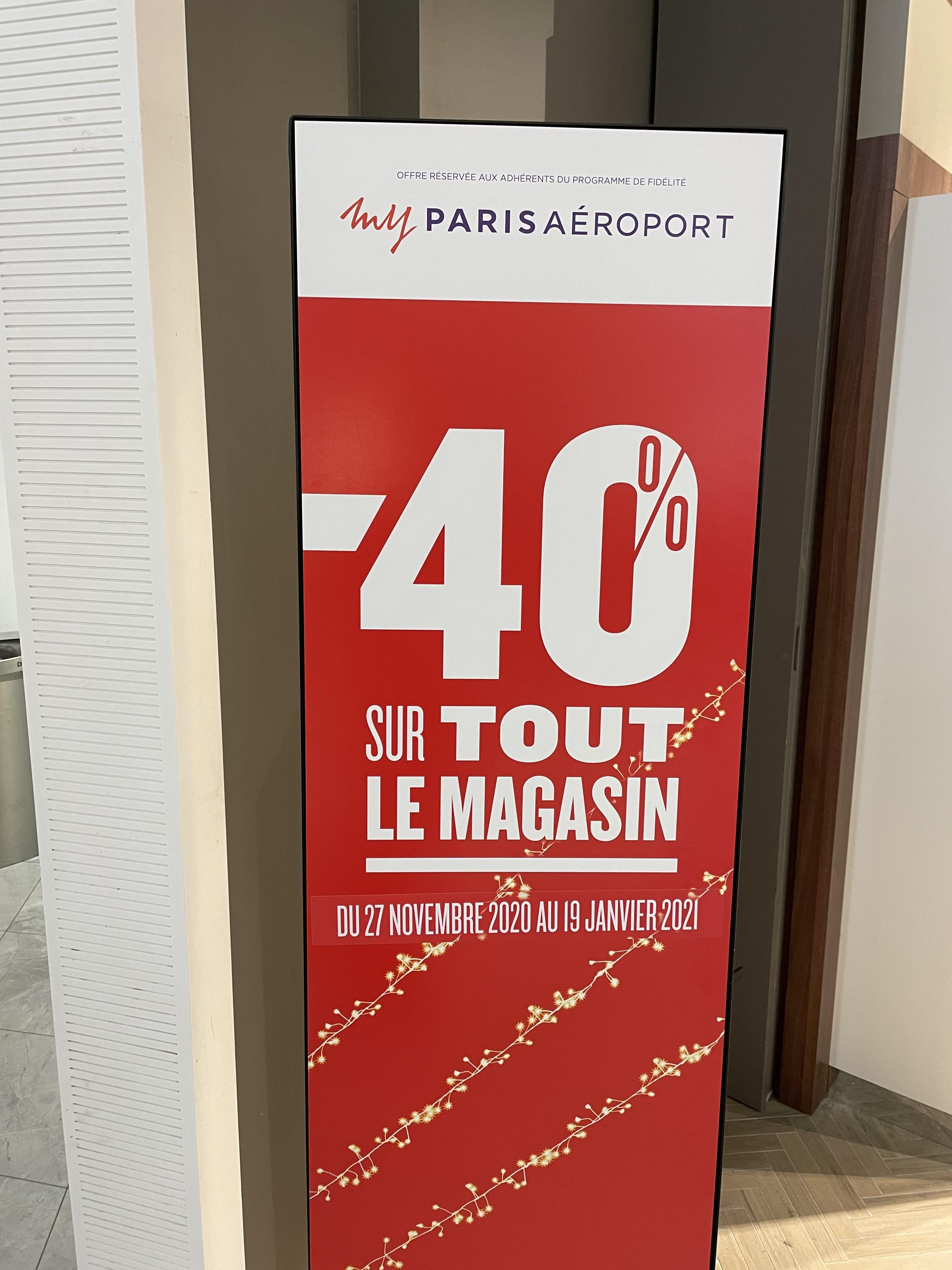 [Carte de Fidélité & Carte d'embarquement] 40% de réduction sur tout le magasin Buy Paris Duty Free - Paris (75)