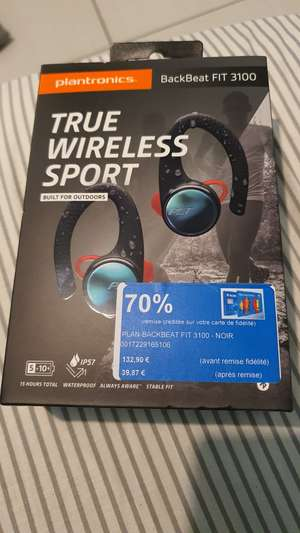 Ecouteurs sans-fil TWS Plantronics BackBeat Fit 3100 - Bluetooth (Via 93.03€ sur la carte - Bourges 18)