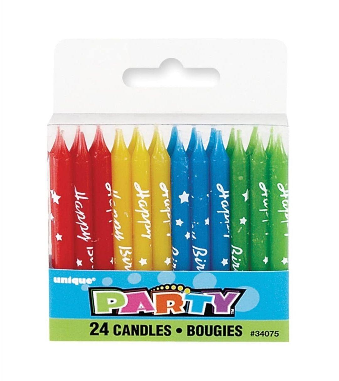 Lot de 24 bougies d'anniversaire assorties