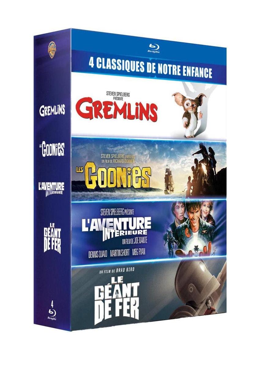 Coffret Blu-Ray 4 films cultes : Gremlins + Les Goonies + L'Aventure intérieure + Le Géant de fer