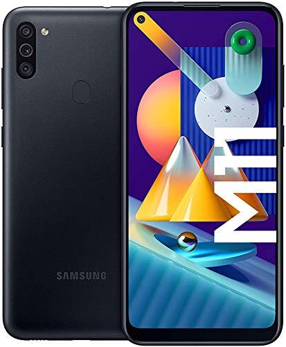 """Smartphone 6.4"""" Samsung Galaxy M11 - HD+ Infinity-O, SnapDragon 450, 3 Go de RAM, 32 Go, noir, version ES"""
