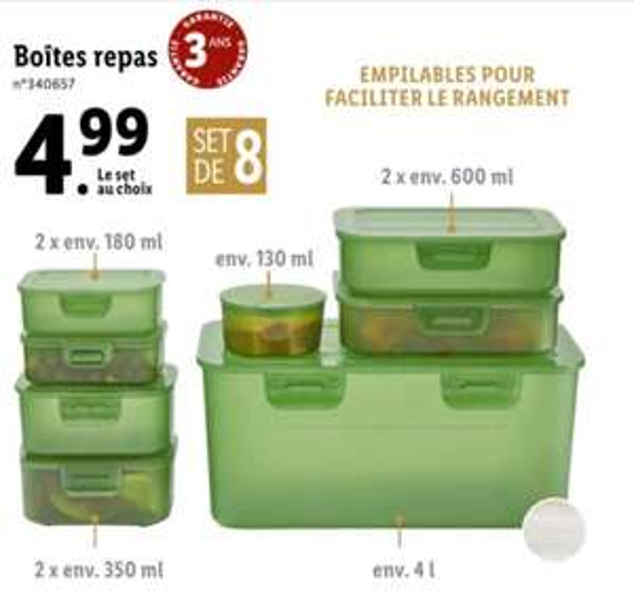 Set de 8 boîtes repas empilables - différentes capacités