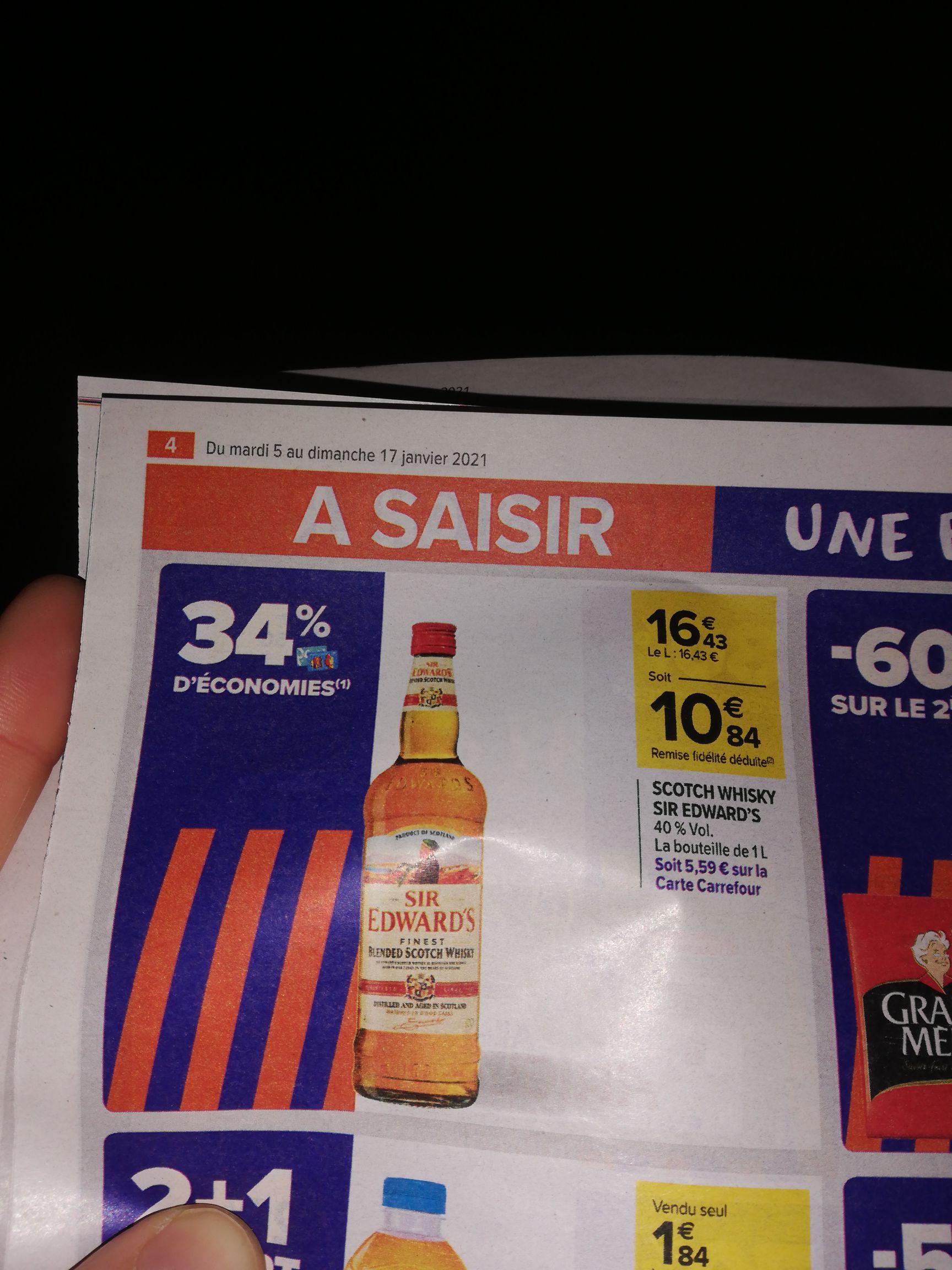 Bouteille de whisky sir Edward's - 1l (avec 5.59€ sur la carte)