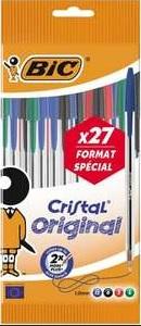 Lot de 27 stylo-billes Bic Cristal Original - pointe Moyenne, coloris assortis (via 2.03 € sur la carte de fidélité)