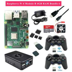Kit mini-PC Raspberry Pi 4 model-B (4 Go de RAM) + 2 manettes + boîtier + alimentation + ventilateur + carte microSD SanDisk Ultra (64 Go)