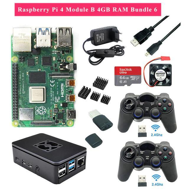 Kit mini-PC Raspberry Pi 4 model-B (4 Go de RAM) + 2 manettes + boîtier + alimentation + ventilateur + carte microSD SanDisk Ultra (64 Go)