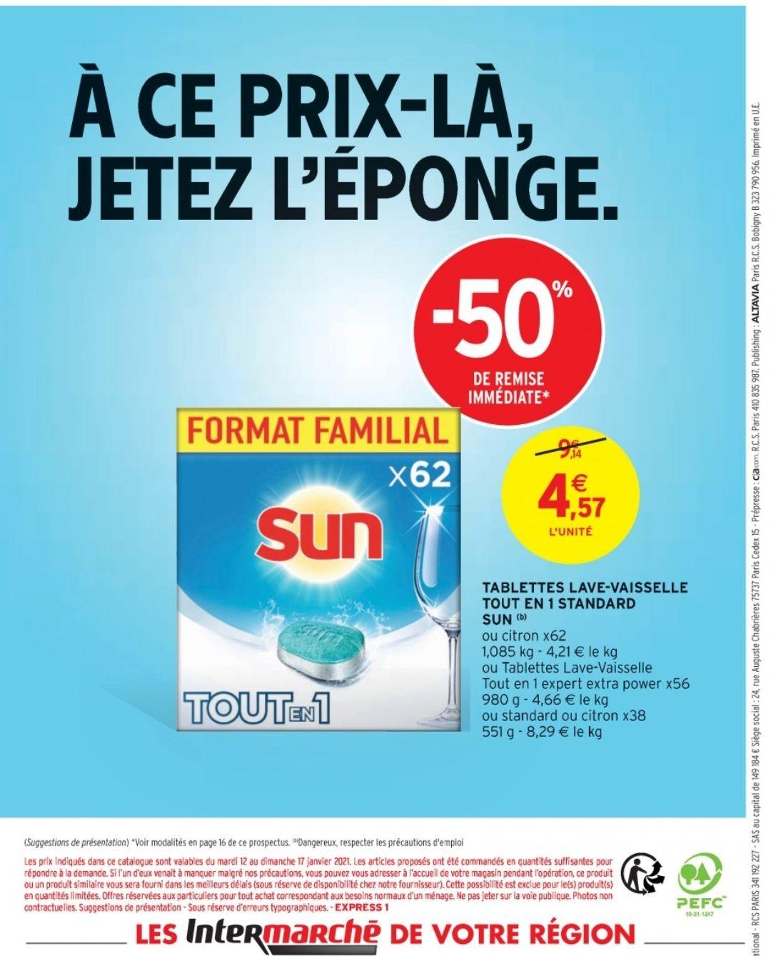 Paquet de 62 tablettes pour lave-vaisselle Sun Tout-en-1 Standard ou Citron