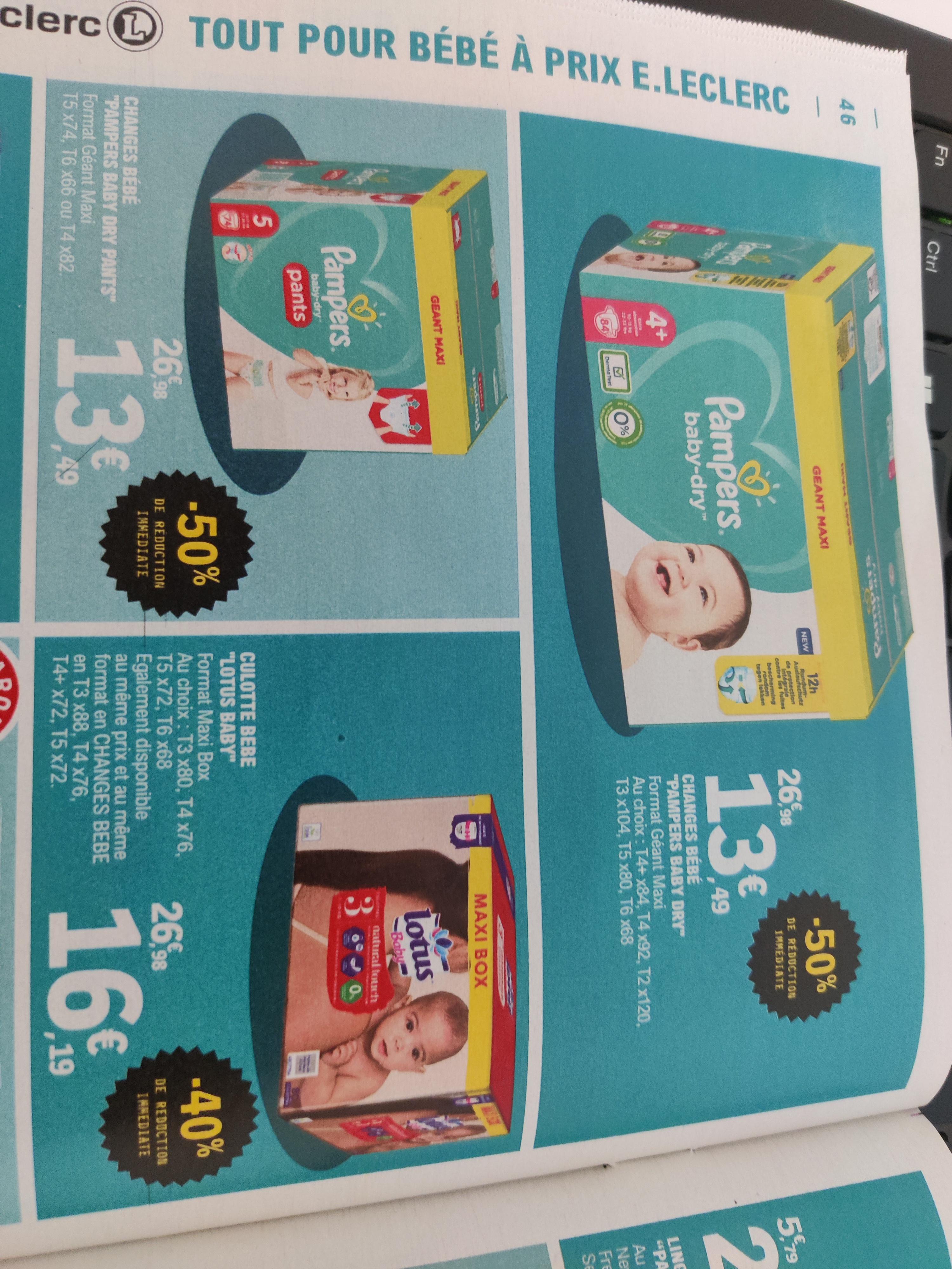 Paquet de couches Pampers Baby-Dry ou Baby-Dry Pants Geant Maxi - différentes quantités et tailles