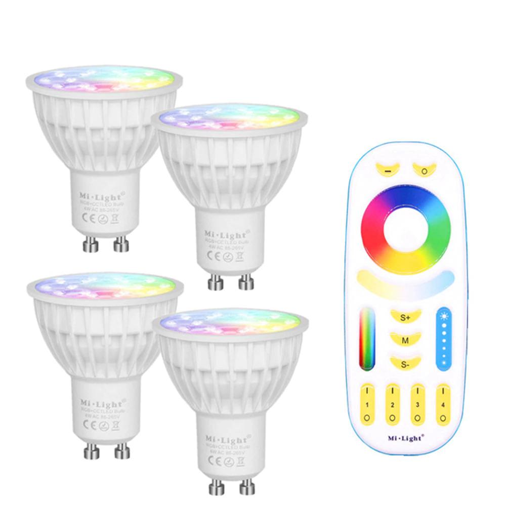 Lot de 4 ampoules connectées LED GU10 Mi Light RGBCCT (2700-6500 K) + télécommande