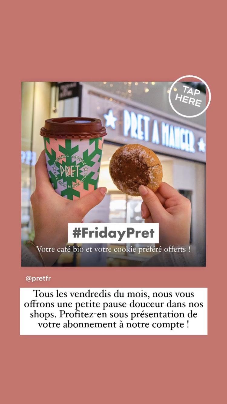 [Abonnés Instagram/Facebook] 1 Café + 1 Cookie au choix offerts les Vendredis chez Prêt à Manger