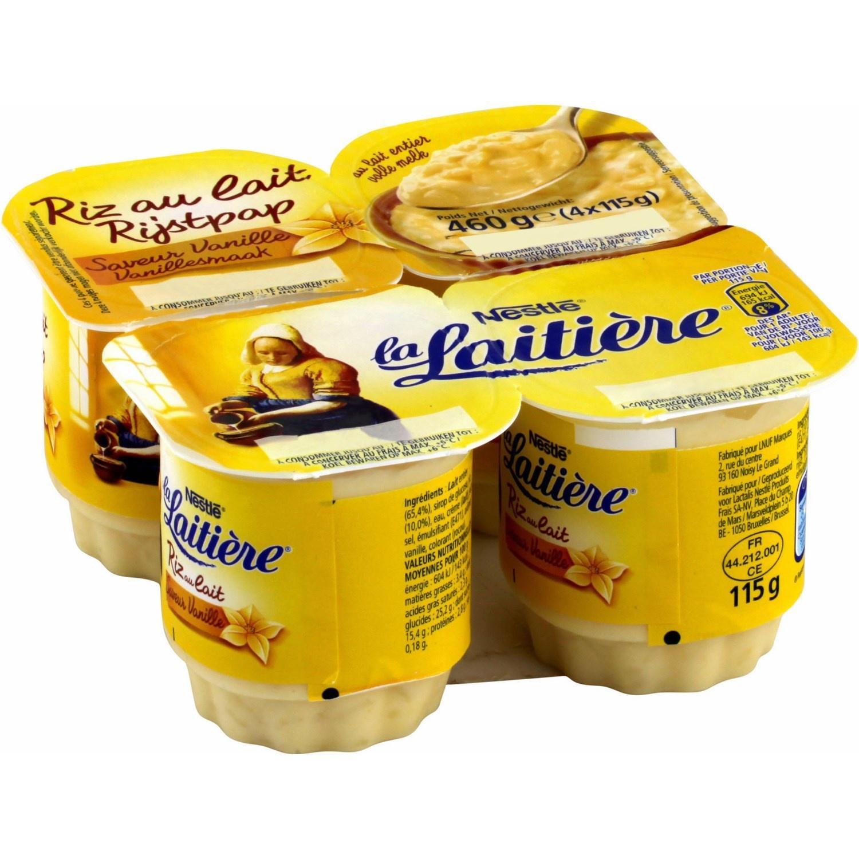 3 lots de 4 Riz au lait La Laitiere saveur vanille (via BDR)