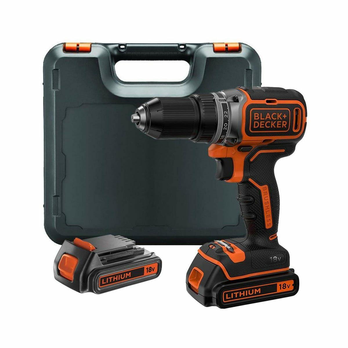 Perceuse visseuse brushless 18V Black+Decker BL188 + 2 batteries 2Ah + boîte rangement