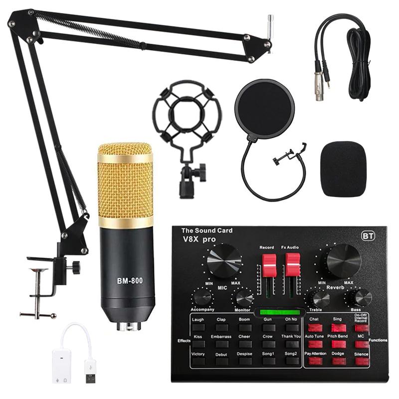 Set Microphone BM800 Pro + Table mixage audio (V8X Pro Black Set)