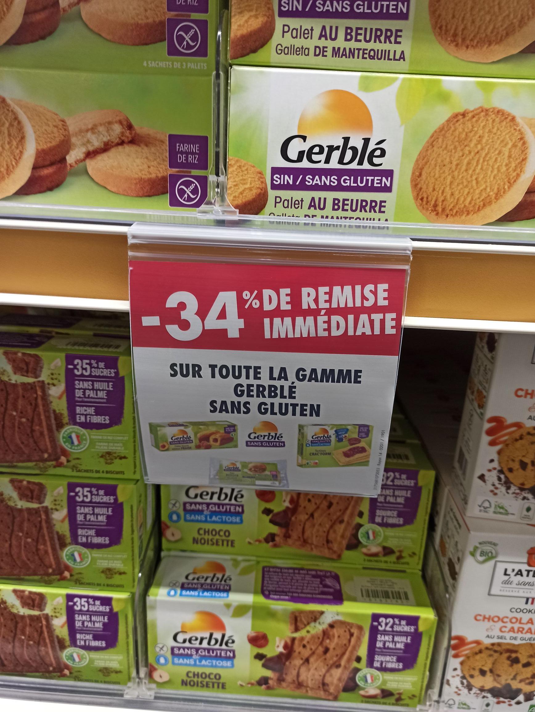34% de réduction sur les produits sans gluten Gerblé - Belleepine (94)