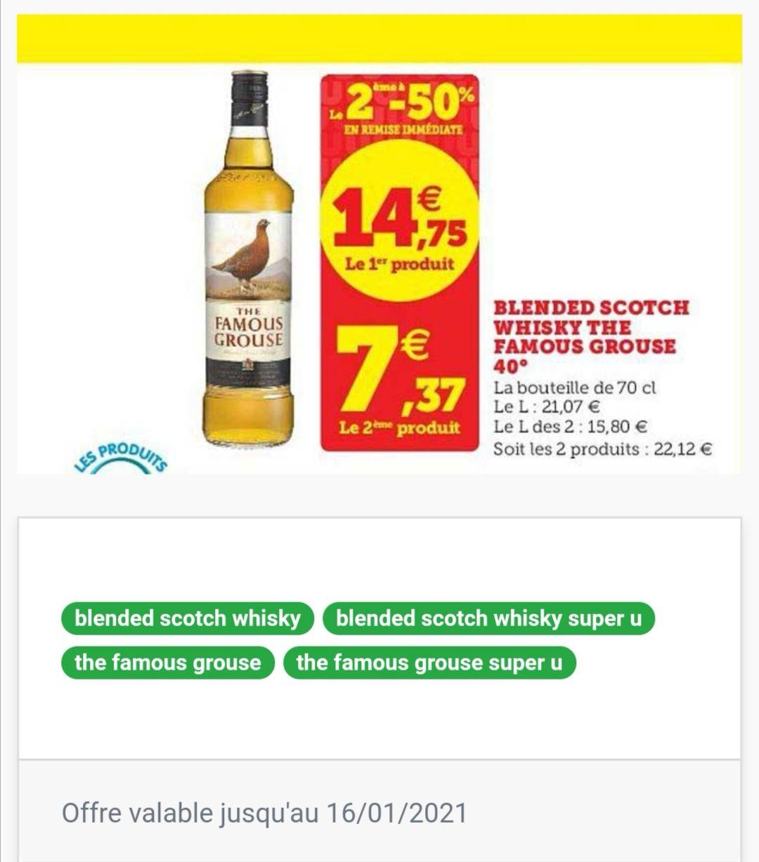 2 Bouteilles de whisky Famous grouse