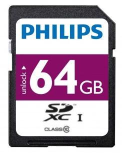 Carte mémoire SDXC Philips Classe 10 (40 Mo/s) - 64Go