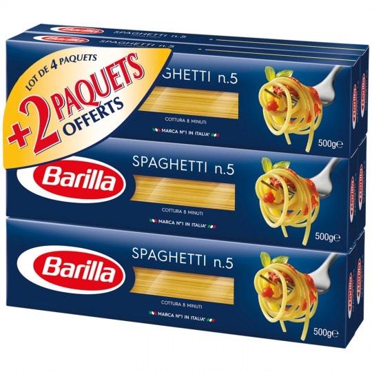 Lot de 6 Boite de pates spaghetti BARILLA - 500g