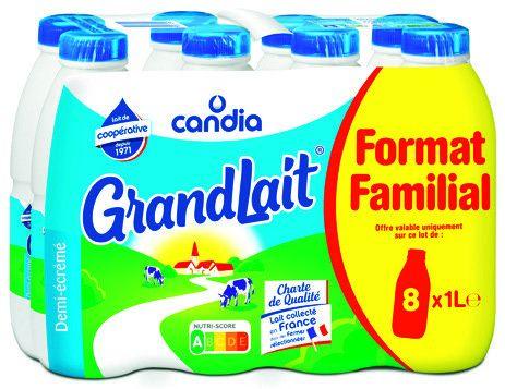 Pack de 8 bouteilles de lait UHT demi-écrémé GrandLait de Candia - 8x 1L