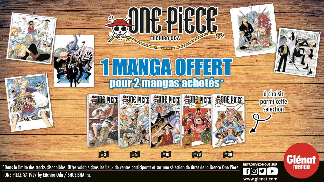 1 tome de One Piece offert parmi une sélection pour 2 Tomes achetés en librairie