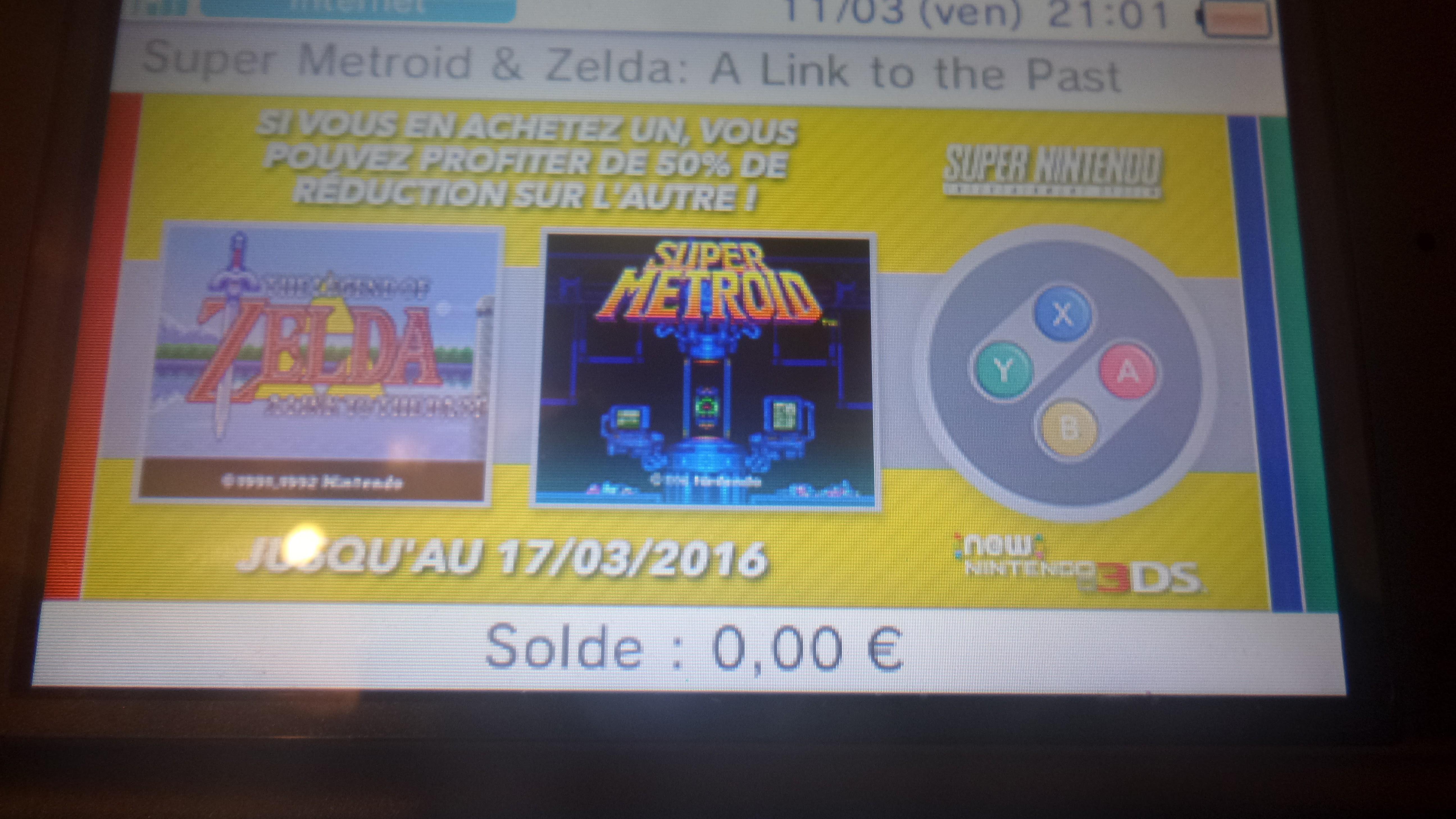 The Legend of Zelda : Link to the past + Super Metroid (Dématérialisés) sur 3DS