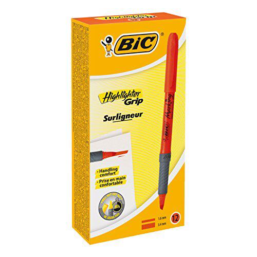 Boîte de 12 Surligneurs BIC Highlighter Grip - Orange, Pointe Biseautée