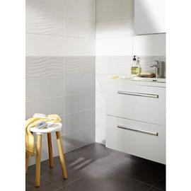 Carrelage mural de salle de bain Onda 20 x 50,2 cm - Blanc ou gris