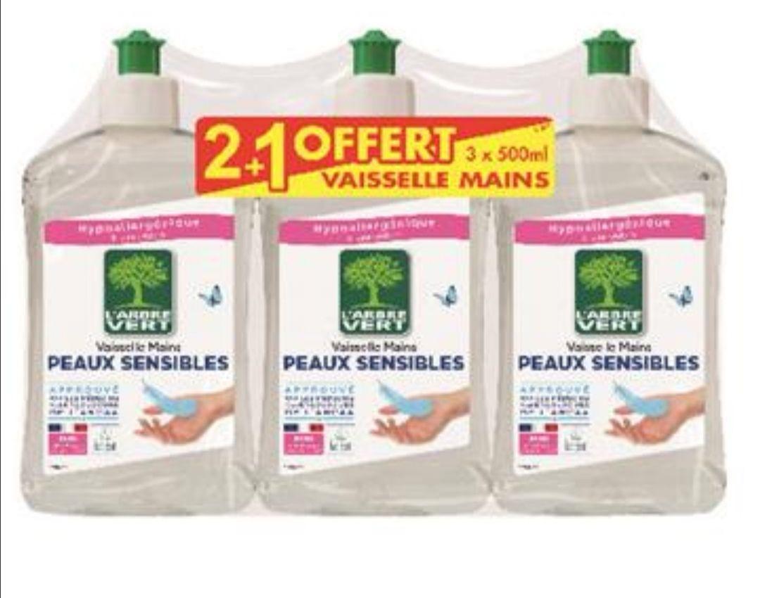 Lot de 3 liquides vaisselle hypoallergéniques L'Arbre Vert différentes variétés (3x500ml)