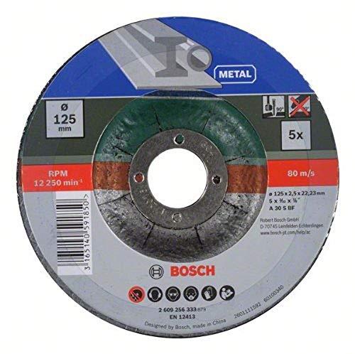 Lot de 5 disques à tronçonner Bosch 2609256333 - 125mm