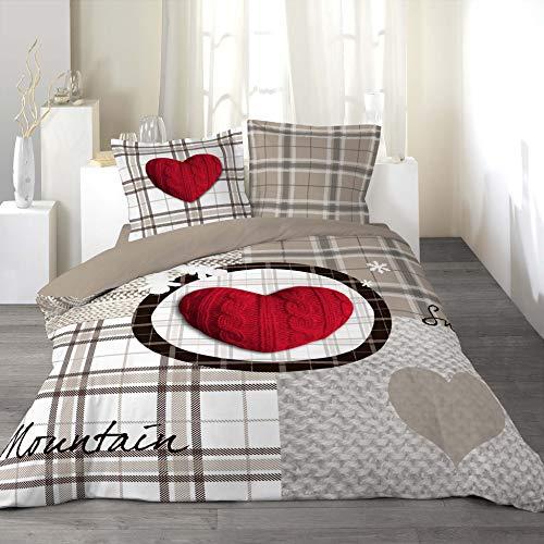 Parure de lit en coton Douceur d'Intérieur Love Mountain - 240 x 220 cm