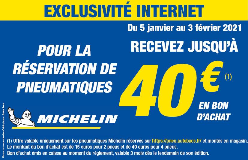Bon d'achat de 15€ pour 2 pneus ou 40€ pour 4 pneus Michelin réservés sur le site et montés en magasin - pneu.autobacs.fr