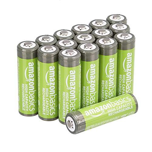 Lot de 16 piles AA rechargeables AmazonBasics 2400 mAh