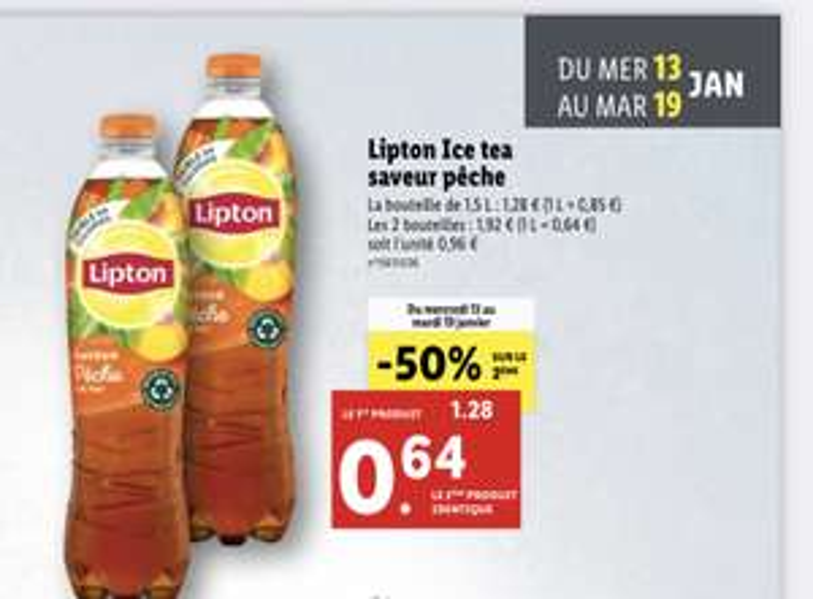 Lot de 2 bouteilles de thé glacé Lipton Ice Tea Pêche - 2 x 1,5L