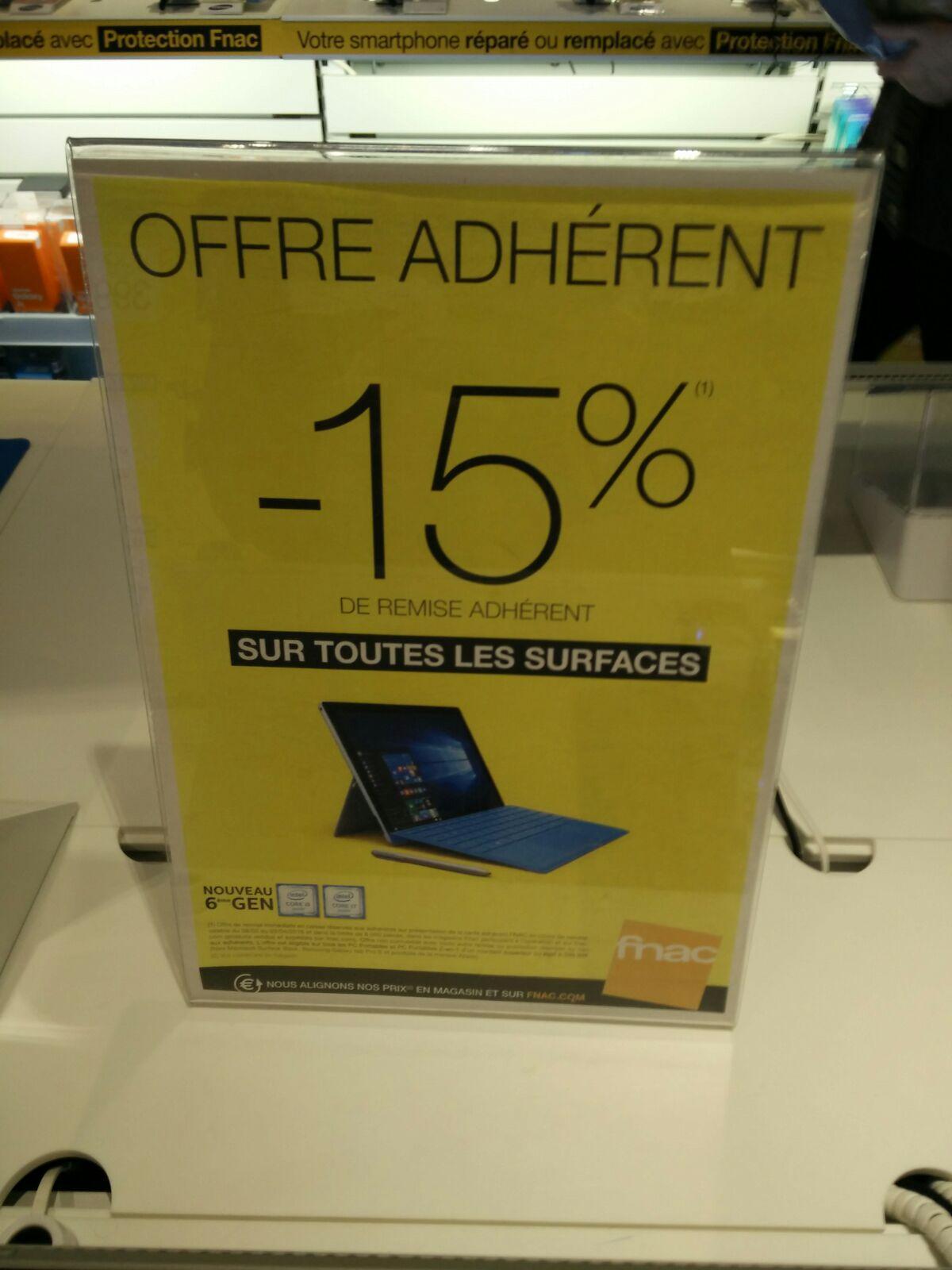 """[Adhérents] 15% de réduction immédiate sur les PC portable et PC 2 en 1 - Ex: Tablette PC 12.4"""" Microsoft Surface Pro 4"""