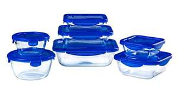 Lot de 7 plats de conservation en verre avec couvercle étanche en verre Pyrex Cook & Go - Pyrex.fr