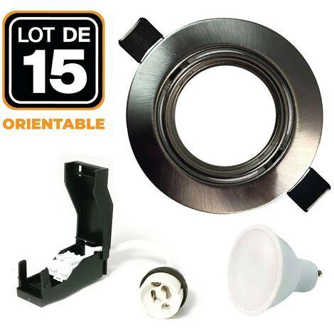Sélection de luminaires en promotion - Ex : Lot de 15 Spots LED encastrables et orientables (5W)