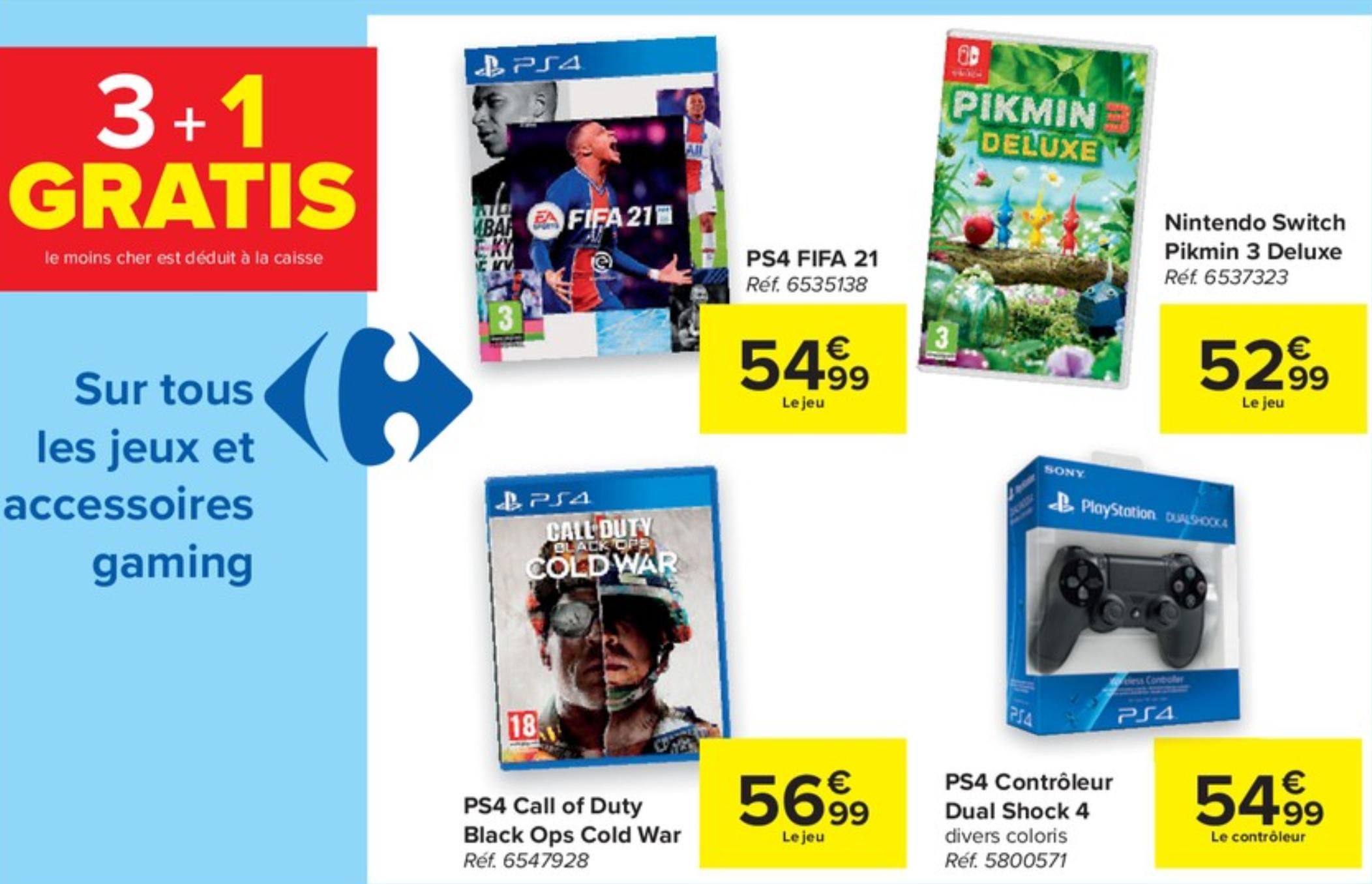 3 Jeux vidéo ou accessoires achetés = le 4ème gratuit (Le moins cher) - Carrefour (Frontalier Belgique)
