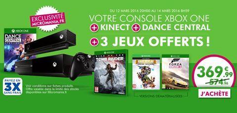 Console Microsoft Xbox one + Kinect + Dance central + Tomb Raider + Forza Horizon 2 & Rare Replay en dématérialisés