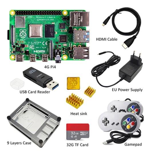 Kit mini-PC Raspberry Pi 4 (4 Go RAM): carte + dissipateur thermique + adaptateur secteur + boîtier + ventilateur + 32 go SD + accessoires