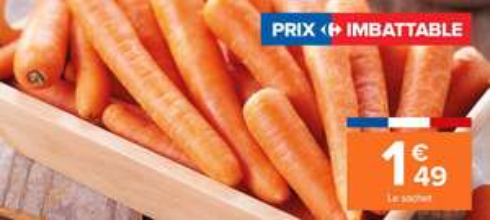 Sachet de 3 kg de carottes origine France catégorie 1