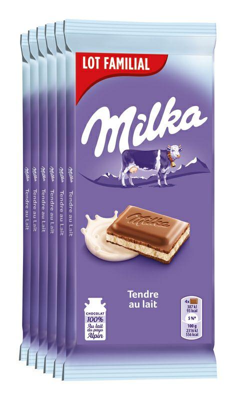 Lot de 6 tablettes de chocolat Milka Lait, Tendre lait ou Riz croustillant - 6 x 100g