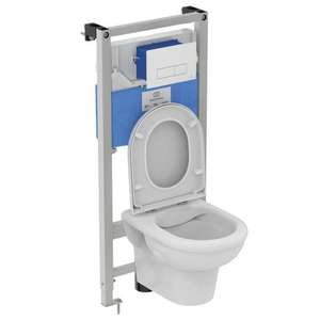 Pack WC suspendu bâti horizontal sol et mur Exacto Ideal Standard - Livry-Gargan (93)