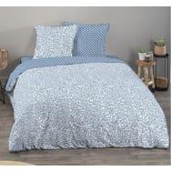 Parure housse de couette fantaisie en coton BIO 57 fils motif Art Floral MARTIN 200*200
