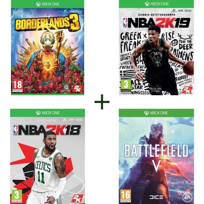 Pack de 4 Jeux: Battlefield 5, NBA 2K19, Borderlands 3 et NBA 2K18 sur Xbox One