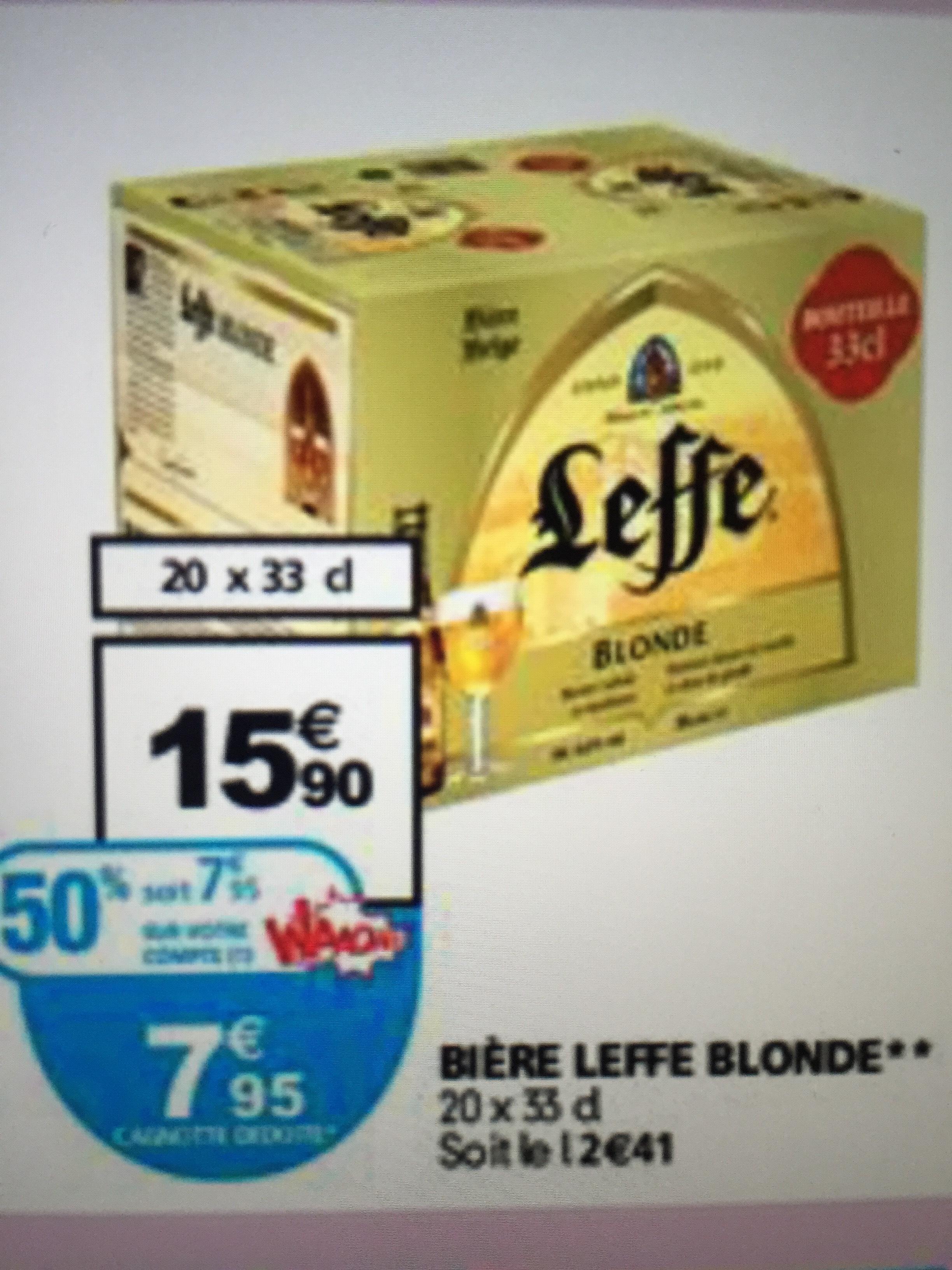 Pack de bières Leffe 20x33cl (avec 50% sur la carte)