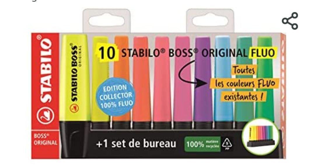 Paquet de 10 Surligneurs Stabilo Boss Original Fluo