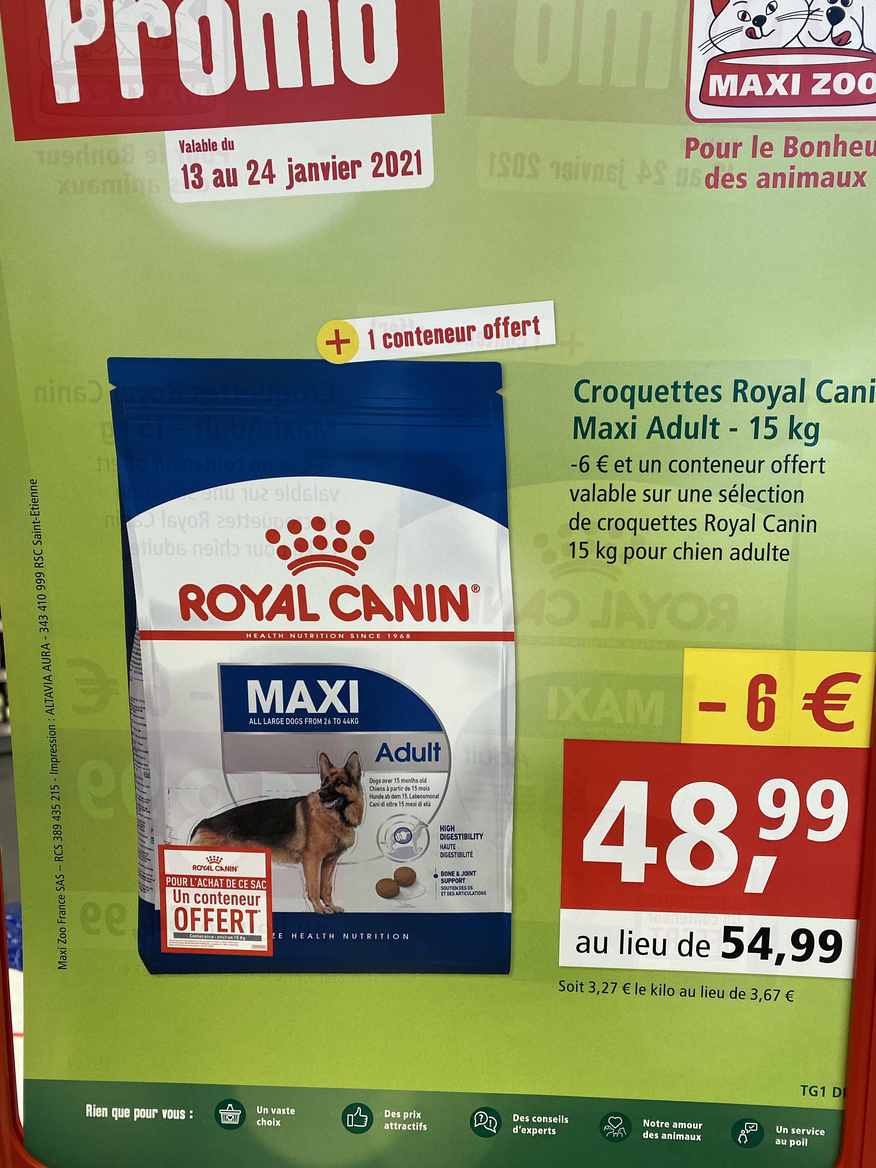 Paquet de croquettes chiens Royal Canin Maxi Adult 15 kg + 1 conteneur offert