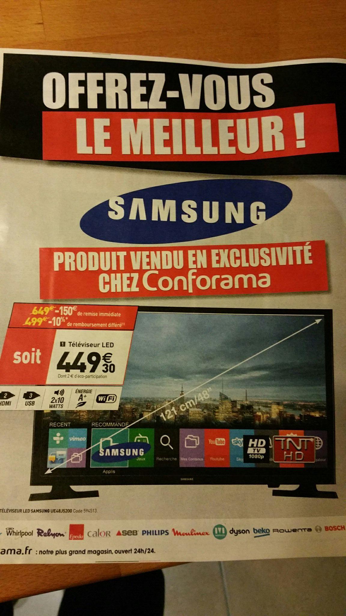 """TV 48"""" Samsung UE48J5200 - Led, 1080p (via ODR)"""