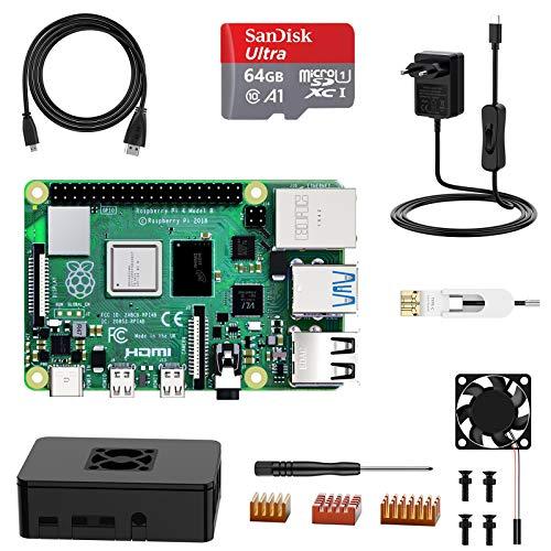 Carte de Développement Raspberry Pi 4 Modèle B, 4G RAM + Micro SD Carte 64Go + Starter Kit (Vendeur Tiers)