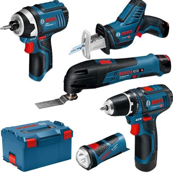 Coffret de 5 outils sans-fil Bosch 0615990GE8 (12 V) - avec 3 batteries 2.0 Ah + chargeur + 2 lames scie-sabre + accessoires